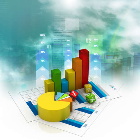 Business graph in abstract background Imagens
