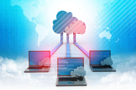 Digital illustration of Cloud computing