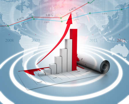increase sales: Business graph Stock Photo