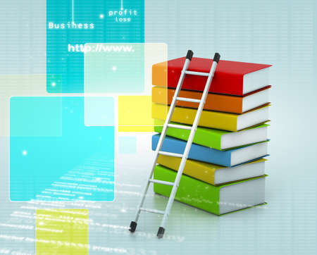 learning series: books and ladder Stock Photo