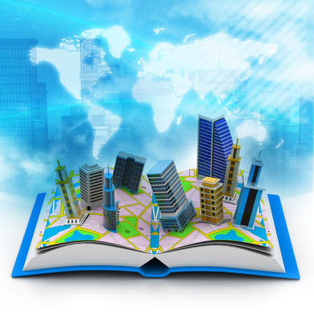office environment: Modern buildings on book
