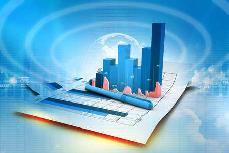 Business graph on chart Stok Fotoğraf