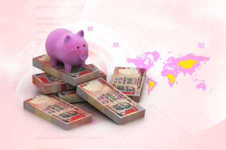 piggy bank and currency in digital design