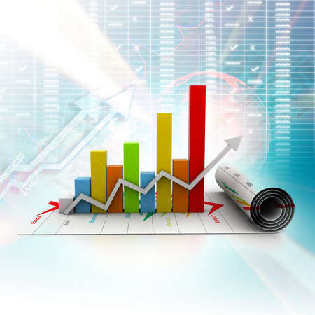 business growth graph in digital background