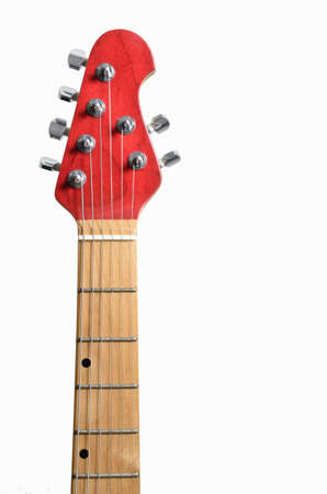 Red electric guitar head and maple neck on white background Stock Photo - 9200359