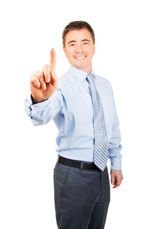 Happy business man with number one hand gesture on isolated background Stock Photo