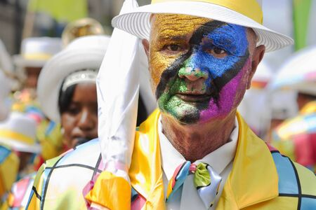 Man with face paint at Minstrel Carnival in South Africa