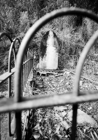 Black & White image of an old tombstone Stock Photo