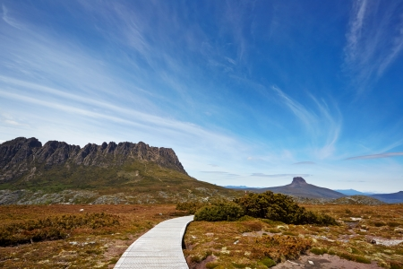 Boardwalk on route through Cradle Mountain and Barnes Bluff