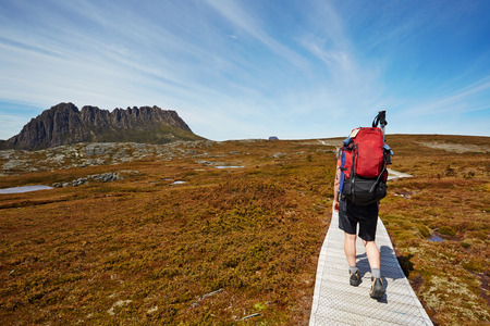 Female hiker on the Overland Trail, Cradle Mountain, Tasmania Stock Photo