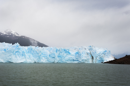 The encroaching Perito Moreno glacier where the glacier is pushed up to meet the land.