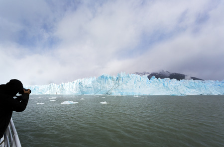 Photography tourism at Perito Merino glacier in Argentina