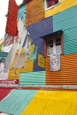 Clothes hanging in the colourful La Boca district of Argentina