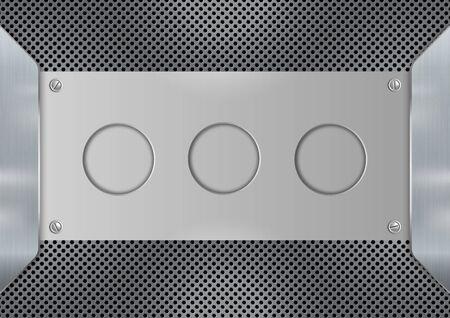 Abstract background metal steel plate with screw. Beehive steel plate texture. Design for banner wallpaper flyer website or brochure. Vector illustration. Vektorgrafik