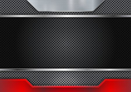 Abstract background metal steel with red raster plate. Beehive steel plate texture. Design for banner wallpaper flyer website or brochure. Vector illustration. Vektorgrafik