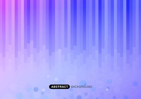 Rectangle strip vertical abstract pink and blue lines color background, Hexagon background. Vector illustration