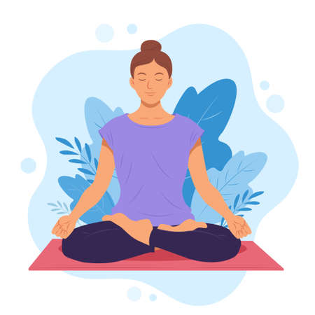 Women are doing yoga postures to help relax and exercise that is good for health. Vector illustration
