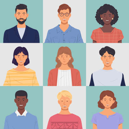 People portrait set. Men and women Smiling on isolated color background. Vector illustration