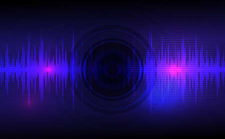 Sound waves oscillating dark blue and light pink with circle vibration, dot pattern. Abstract technology background. Vector illustration. Vetores