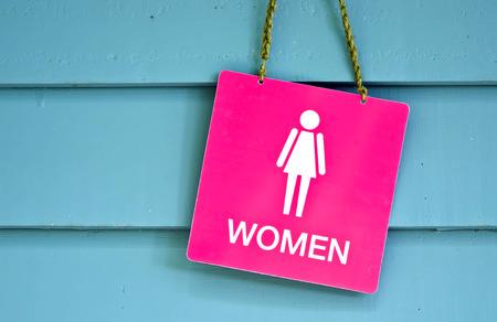 Sign of public toilets WC restroom for women Standard-Bild