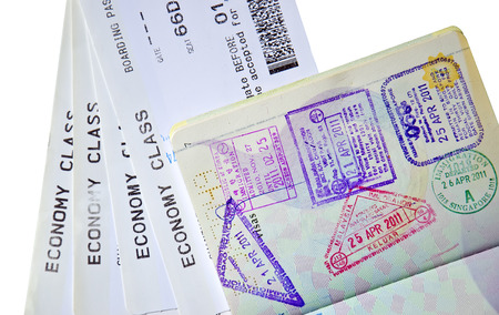 Airline tickets and passport  close-up photo