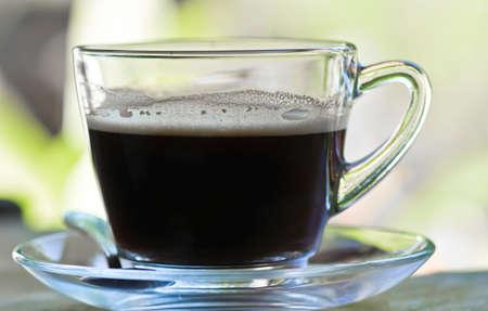 americano: Hot americano coffee in the glass cup