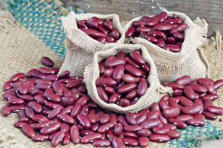 gunny bag: Dried red beans in the gunny bag