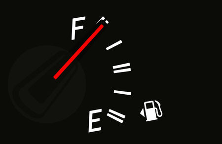 Fuel gauge with red indicator at full level. Archivio Fotografico