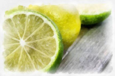 dry brush: Fresh  lemons with dry brush paint effect.