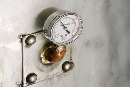 measuring instrument: Pressure gauge, measuring instrument close up.