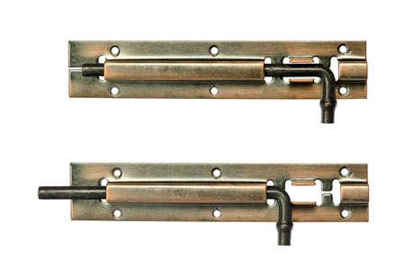 door bolt: Stainless door pad bolt on white background