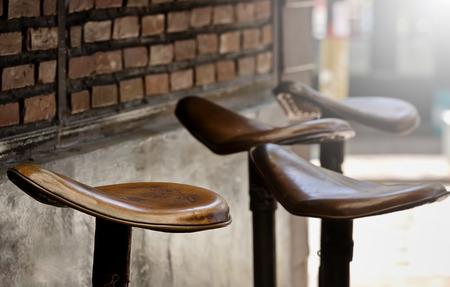 bar chair: Vintage leather bar chair,shallow DOF