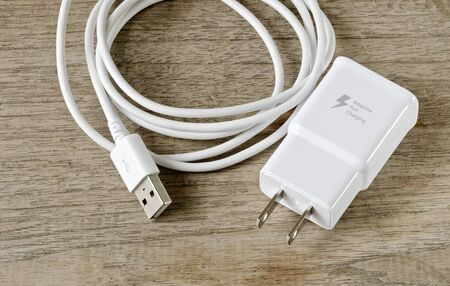 White adapter Charger with usb cable on wooden background.