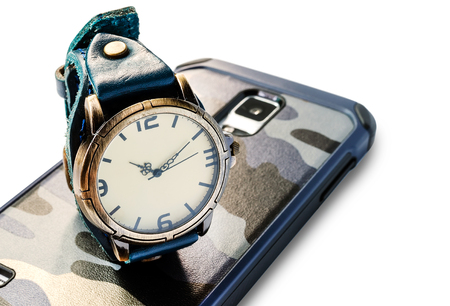 strap on: Vintage wristwatch with blue leather strap on smartphone,white background.