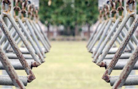 iron hoops: Rusty Steel hoops  in the health park,soft focus.