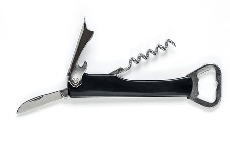 bottle opener: knife with corkscrew and bottle opener on a white background.