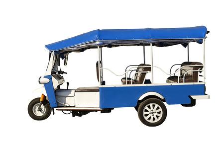 three wheel: Tuk Tuk,Thailand three wheel native taxi.Isolated on white background. Stock Photo