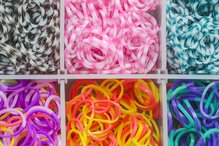 loom: Colorful of elastic rainbow loom bands  in the box.
