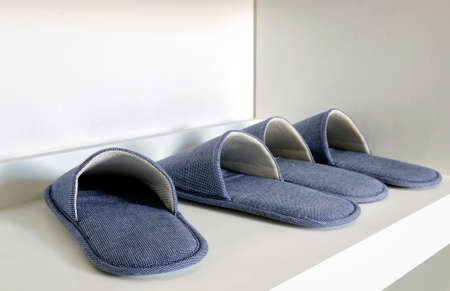 foot ware: Blue house slippers on white shelf