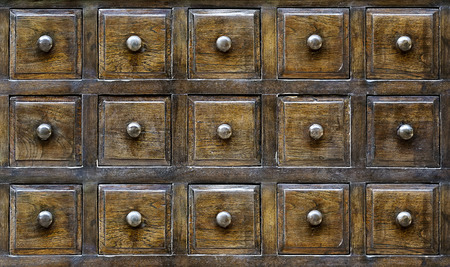 drawers: Vintage wooden drawers with number Stock Photo