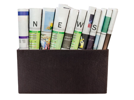 news paper: News paper in the box isolated on white background.