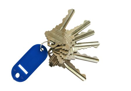 key chain: keys with blue  key chain isolated on white background.
