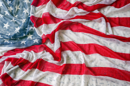 corrugate: Vintage American flag,thin fabrics cloth and corrugate.