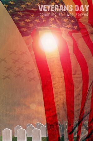 United States Flag and Grave stones in a row  in the sun light for Veterans Day Concept Standard-Bild