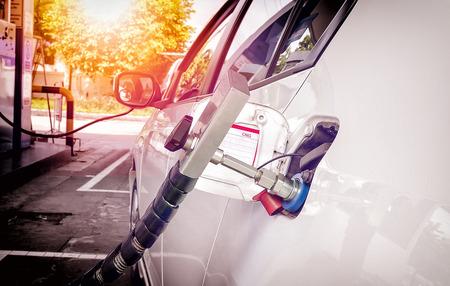 ngv: Fuel up the natural gas vehicle (NGV) at the station. Stock Photo