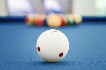 billiards table: White ball on billiards  table,shallow DOF