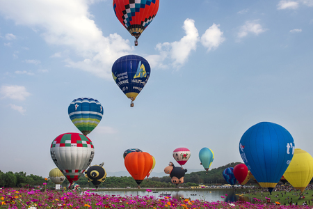 fiesta popular: HIANG RAI, THAILAND - FEBRUARY 14, 2017 : International Balloon Fiesta 2017 is the festival of happiness at Singha Park Chiang Rai 14- 18 February 2017 northern of Thailand.