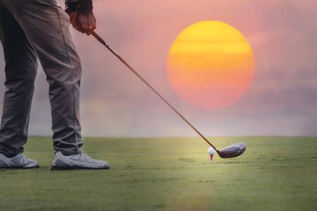 Cropped shot of men playing golf under the sunlight. copy space. Stock fotó