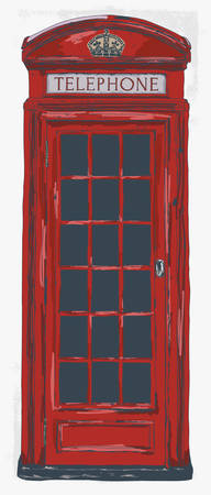 London Pay Phone Vintage Hand Drawn Vector Illustration. Famous London and British Symbol. - Vector
