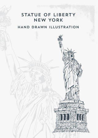 Statue of Liberty Hand Drawn Vector Illustration. New York and USA landmark. American national symbol. - Vector